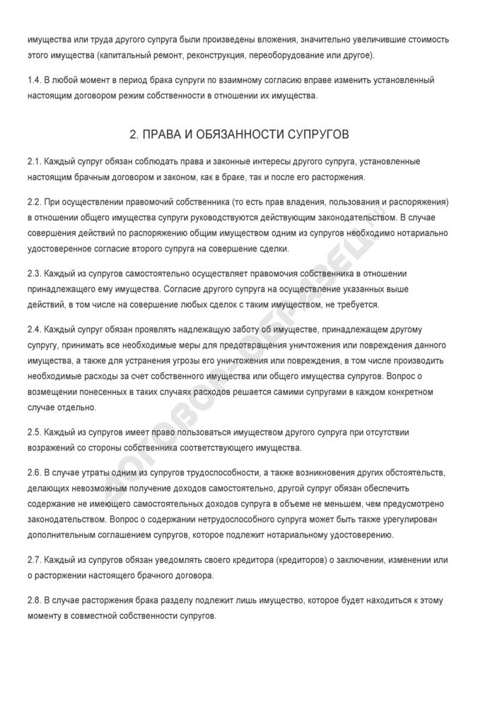 Бланк брачного договора с общим совместным режимом собственности на отдельный вид имущества. Страница 2
