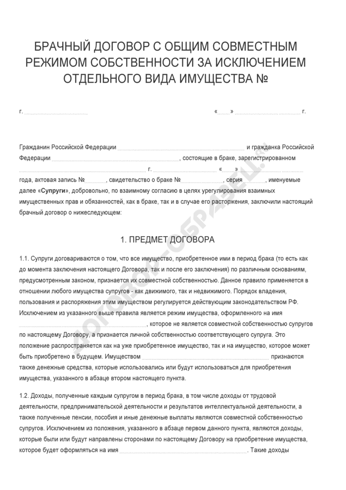 Бланк брачного договора с общим совместным режимом собственности за исключением отдельного вида имущества. Страница 1