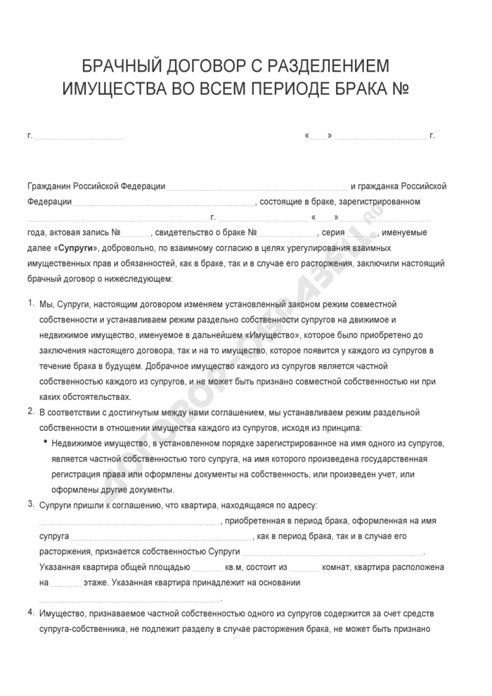 Бланк брачного договора с разделением имущества во всем периоде брака. Страница 1