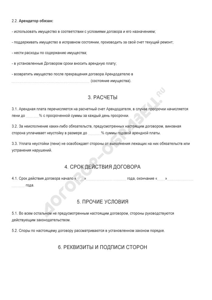Бланк договора имущественного найма (аренды) оборудования. Страница 2