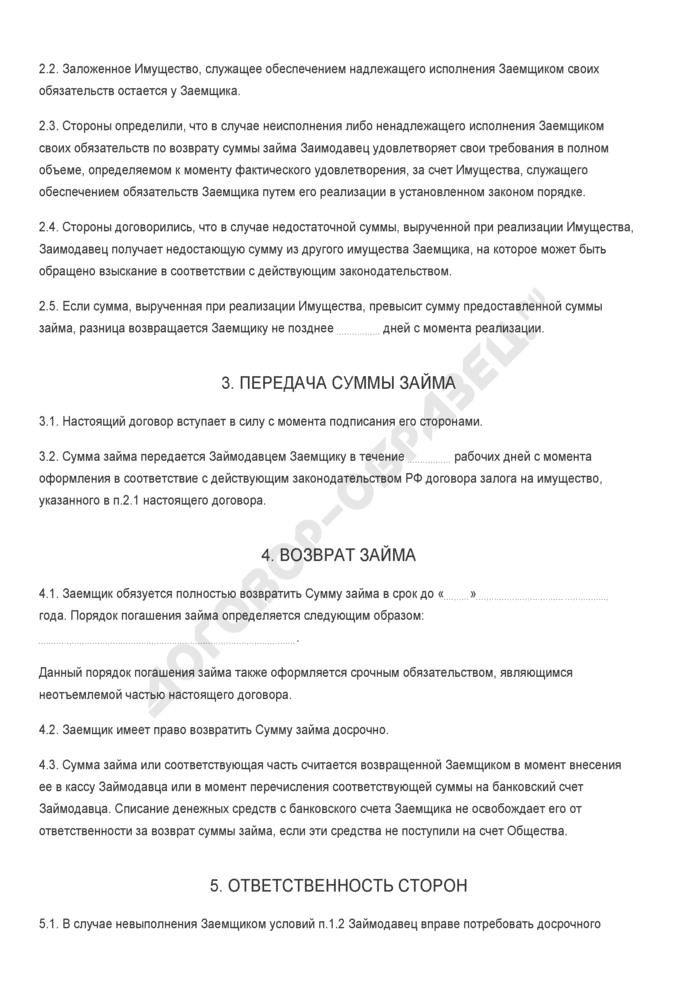 Бланк договора беспроцентного займа между акционером закрытого акционерного общества и обществом с залоговым обеспечением (залог имущества). Страница 2