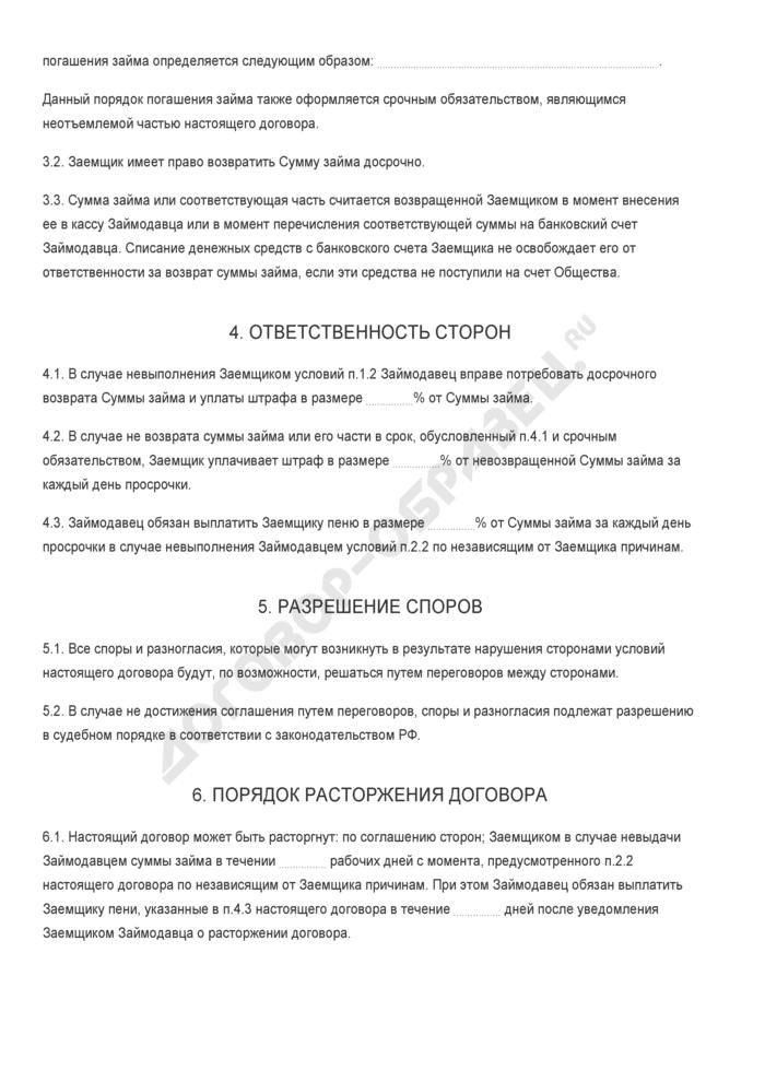 Бланк договора беспроцентного займа между акционером закрытого акционерного общества и обществом. Страница 2
