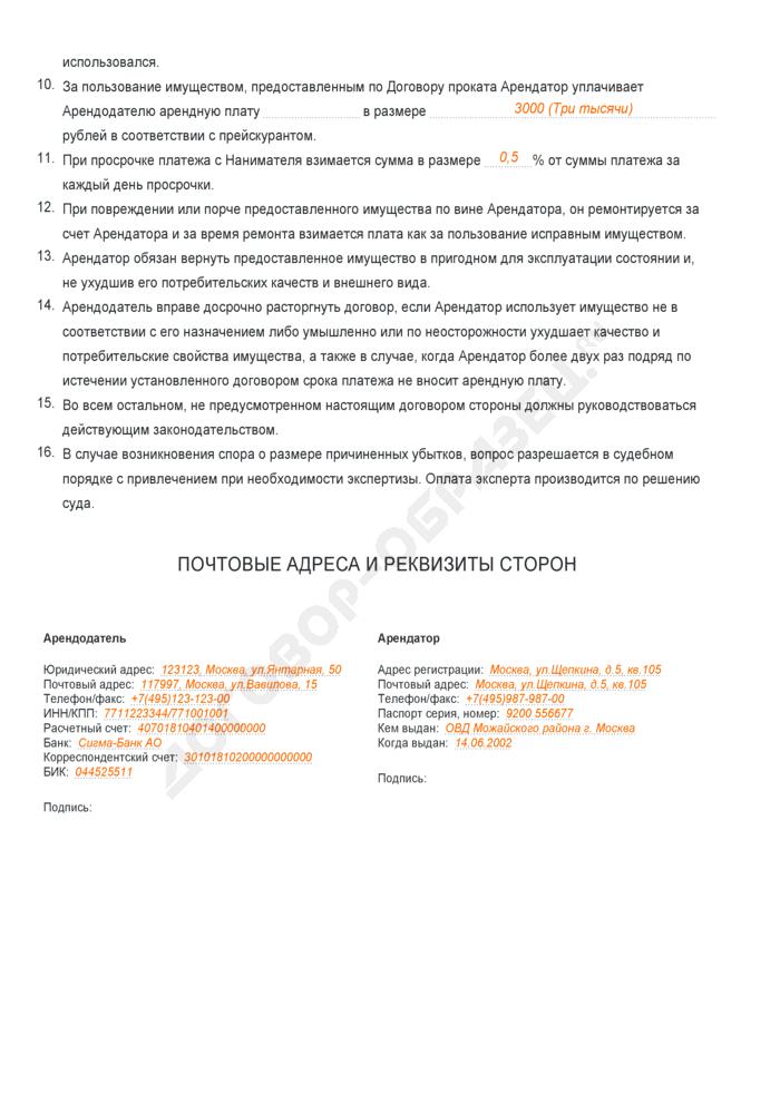 Заполненный образец договора бытового проката . Страница 2