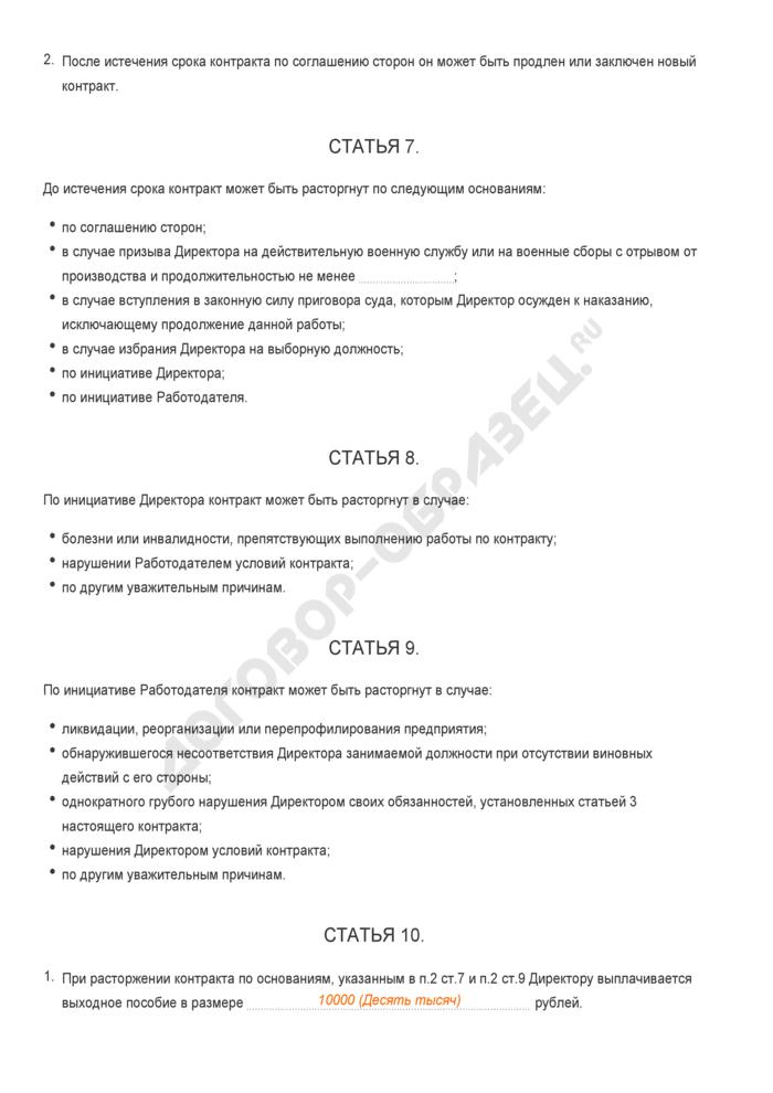 Заполненный образец трудового контракта с директором предприятия. Страница 3