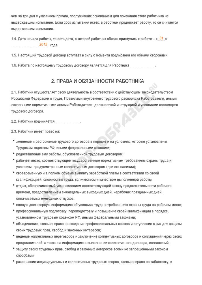 Заполненный образец трудового договора с испытательным сроком. Страница 2