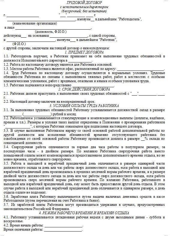 Начало документа «Трудовой договор с исполнительным директором ООО»