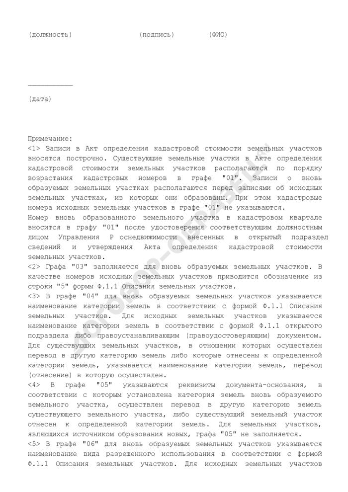Акт определения кадастровой стоимости земельных участков. Страница 3