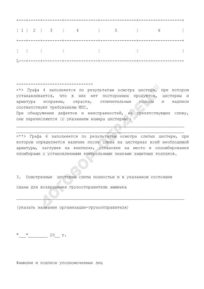 Акт осмотра и слива железнодорожных цистерн для перевозки жидкого аммиака (рекомендуемая форма). Страница 2