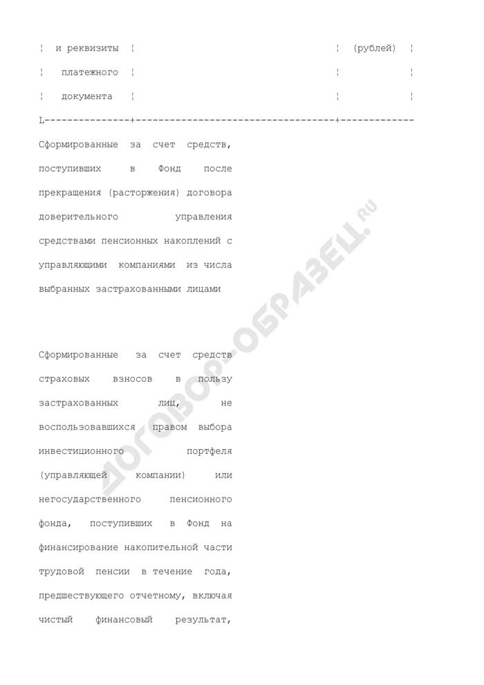 Акт передачи средств пенсионных накоплений (приложение к типовому договору доверительного управления средствами пенсионных накоплений между Пенсионным фондом Российской Федерации и Государственной управляющей компанией). Страница 2