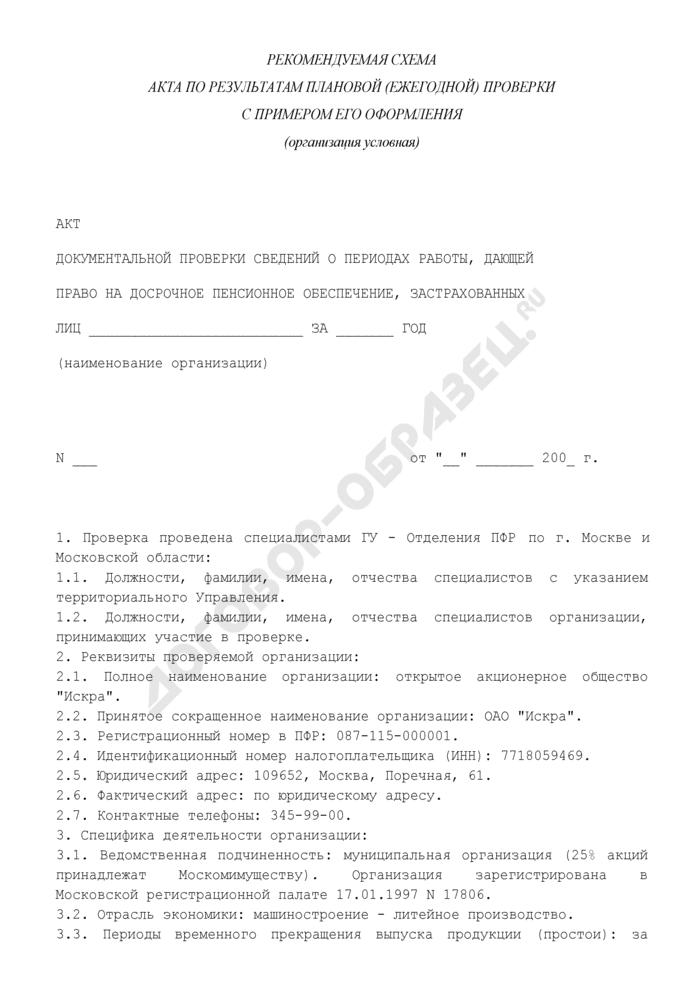 Акт документальной проверки сведений о периодах работы, дающей право на досрочное пенсионное обеспечение, застрахованных лиц (по результатам плановой (ежегодной) проверки) (рекомендуемая форма). Страница 1