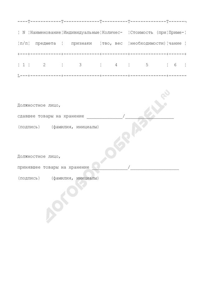 Акт приема-передачи вещественных доказательств на хранение в камеру хранения вещественных доказательств в таможне. Страница 2
