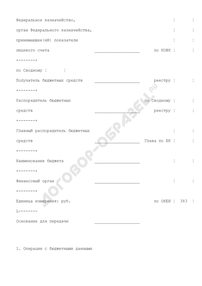 Акт приемки-передачи показателей лицевого счета получателя бюджетных средств (для отражения операций). Страница 2