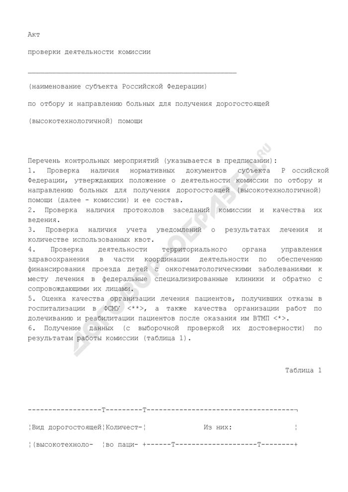 Акт проверки деятельности комиссии по отбору и направлению больных для получения дорогостоящей (высокотехнологичной) помощи. Страница 1