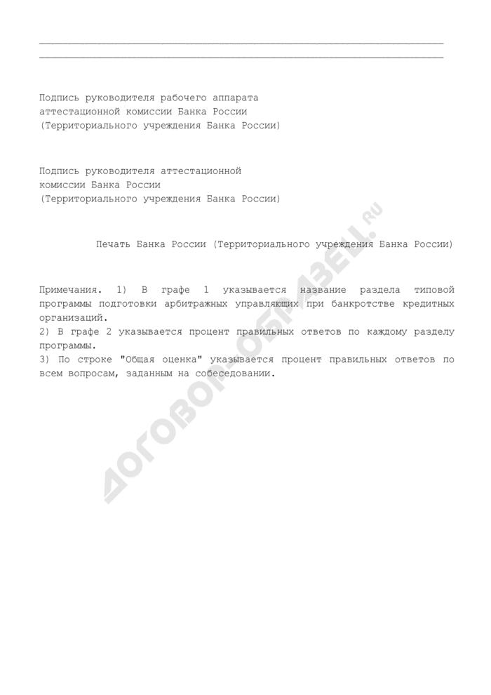Акт прохождения собеседования по типовой программе подготовки арбитражных управляющих при банкротстве кредитных организаций. Страница 2