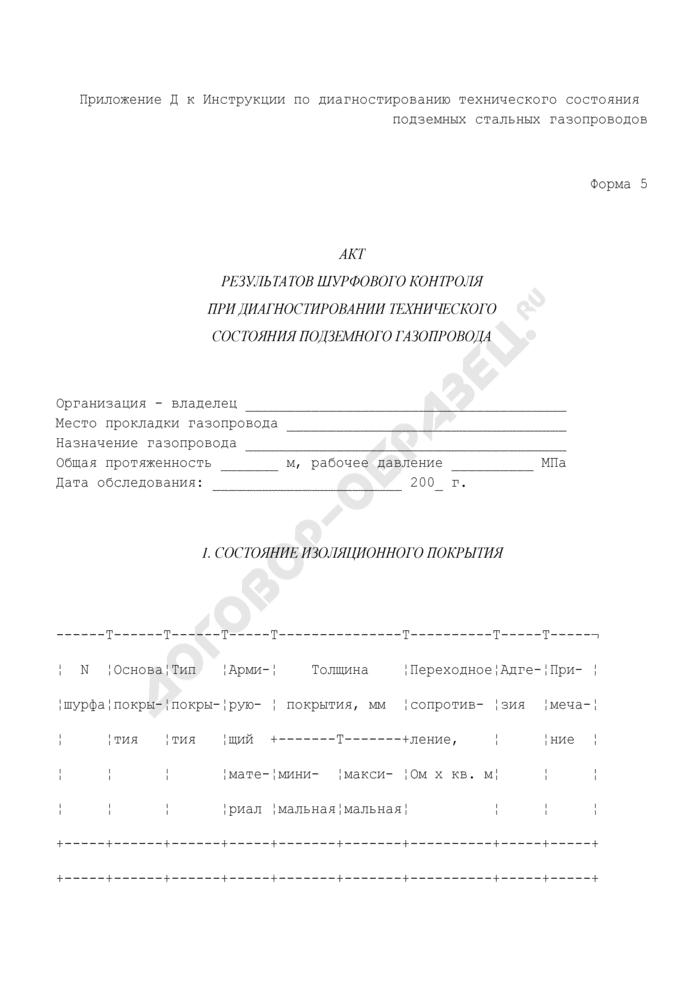 Акт результатов шурфового контроля при диагностировании технического состояния подземного газопровода. Форма N 5. Страница 1