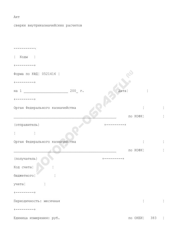 Акт сверки внутриказначейских расчетов. Страница 1