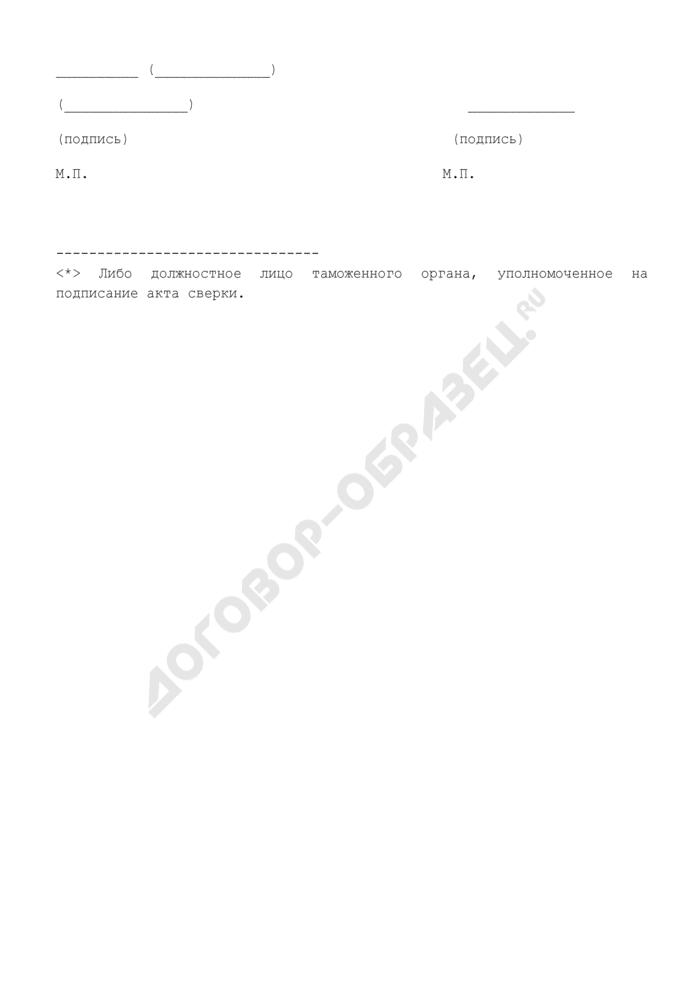 Акт сверки по обращенному в собственность государства имуществу, переданному судебным приставам-исполнителям структурных подразделений территориального органа ФССП Россия таможенными органами Российской Федерации, подчиненными таможенному управлению. Страница 2