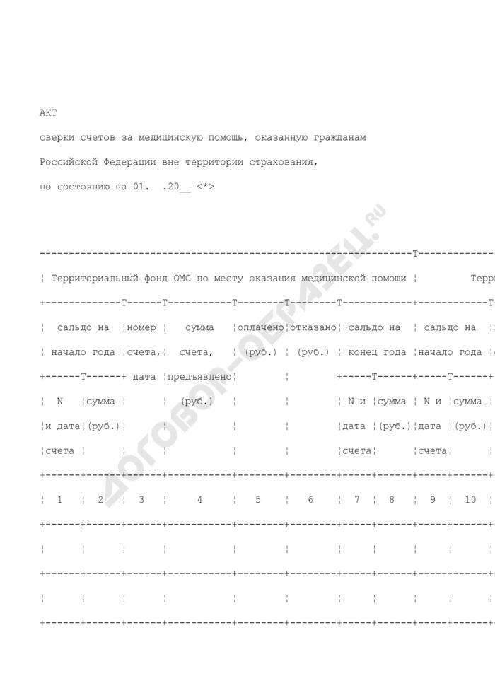 Акт сверки счетов за медицинскую помощь, оказанную гражданам Российской Федерации вне территории страхования. Страница 1