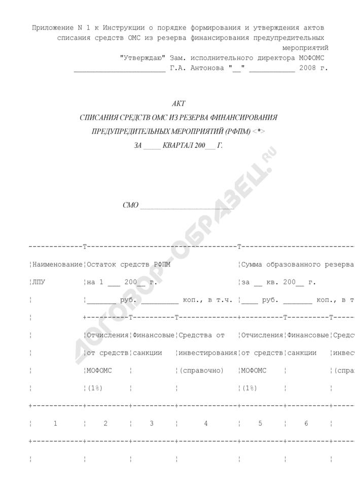 Акт списания средств ОМС из резерва финансирования предупредительных мероприятий (РФПМ) на территории Московской области. Страница 1