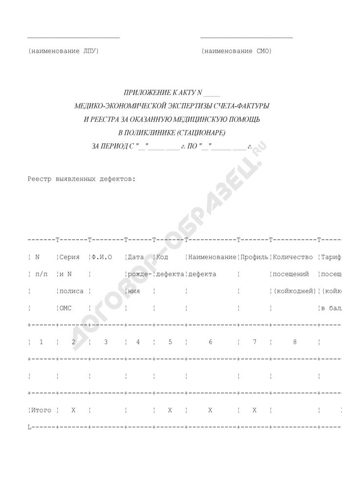 Приложение к акту медико-экономической экспертизы счета-фактуры и реестра за оказанную медицинскую помощь в поликлинике (стационаре). Страница 1