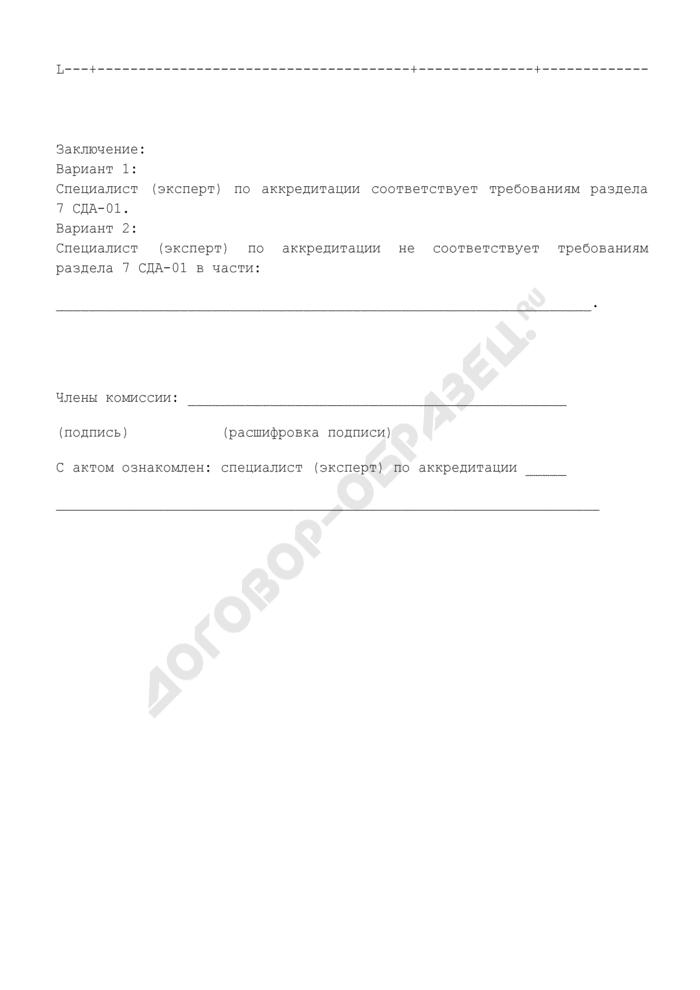Форма акта наблюдения на месте за работой специалиста (эксперта) по аккредитации органов оценки соответствия на объектах, подконтрольных Ростехнадзору. Страница 3