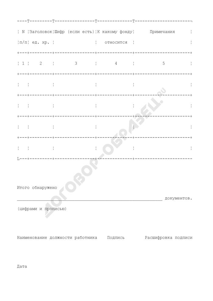 Форма акта об обнаружении документов (не относящихся к данному фонду, архиву, неучтенных и т.д.). Страница 2