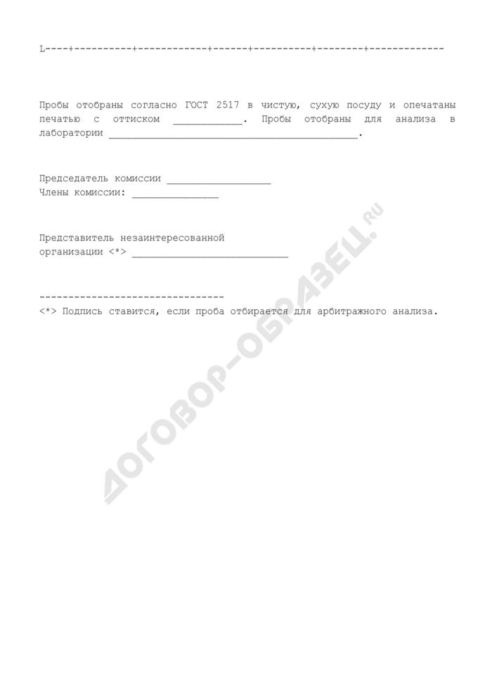 Форма акта отбора проб нефтепродуктов. Страница 2