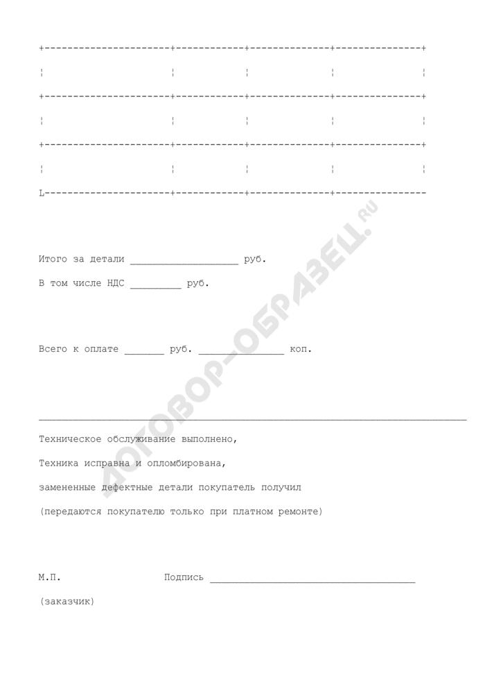 Форма акта приемки выполненных гарантийных и платных работ, услуг (приложение к договору между покупателем и ремонтной организацией на ввод в эксплуатацию, техническое обслуживание и ремонт в гарантийный и послегарантийный период вычислительной и другой техники). Страница 3