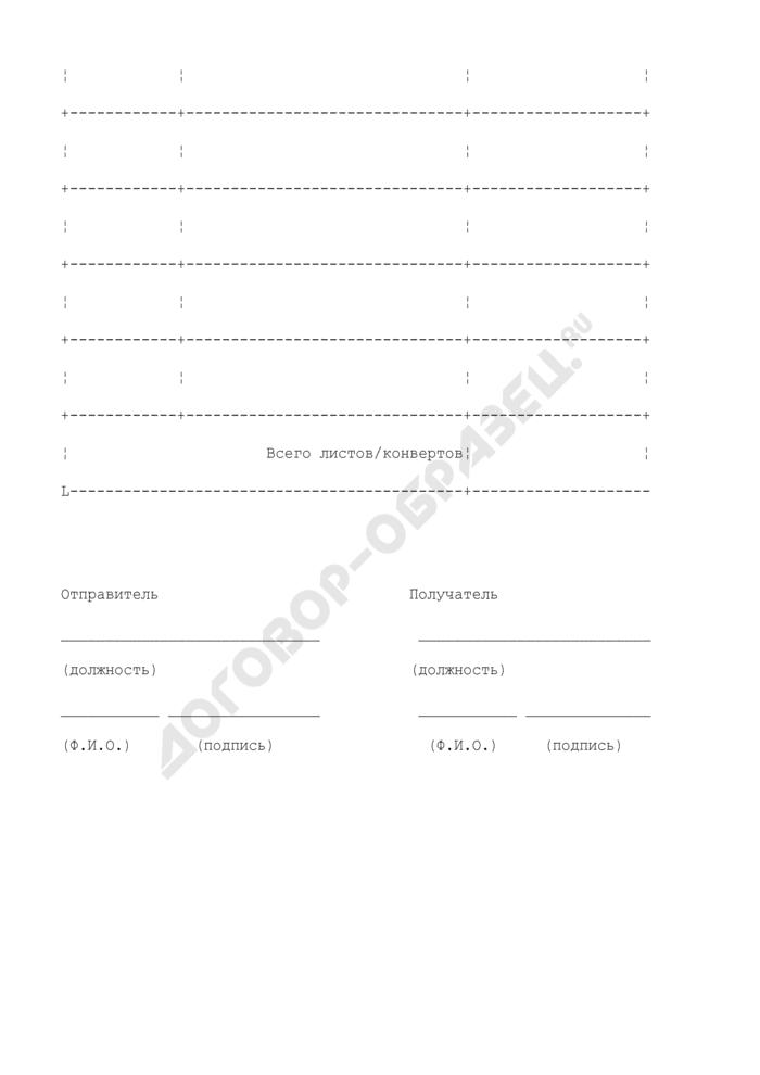 Форма акта приема-передачи документов и конвертов, возвращаемых в архив централизованной обработки данных. Страница 2