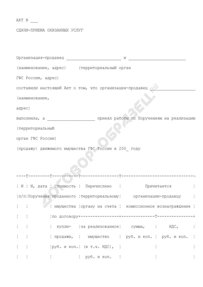 Форма акта сдачи-приема оказанных услуг по реализации (продаже) движимого имущества ГФС России. Страница 1