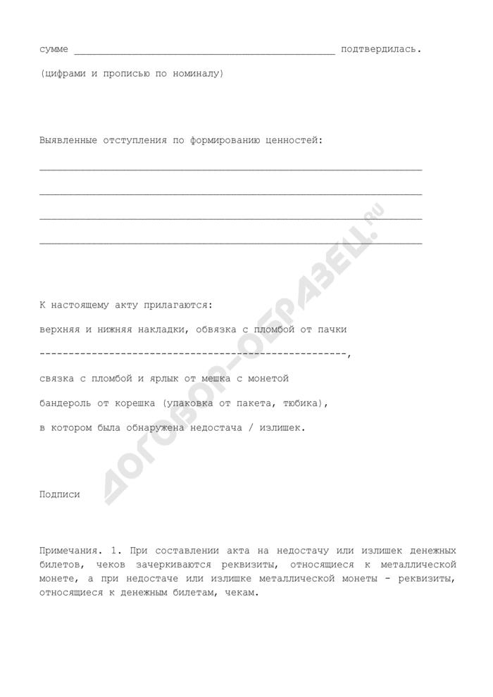 Акт на недостачу или излишек денежных билетов, чеков. Страница 3