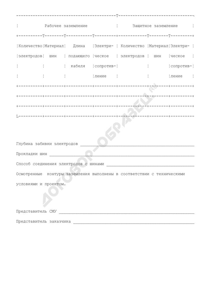 Акт на скрытые работы по устройству контуров заземления. Форма N 31. Страница 2