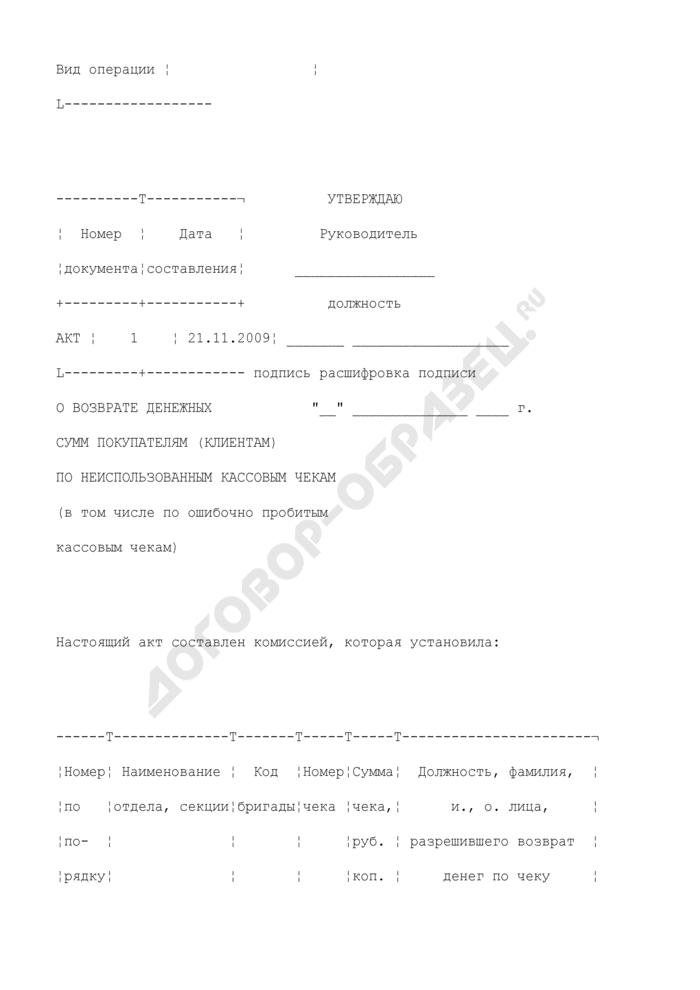 Акт о возврате денежных сумм покупателям (клиентам) по неиспользованным кассовым чекам (в том числе по ошибочно пробитым кассовым чекам). Унифицированная форма N КМ-3 (пример заполнения). Страница 2