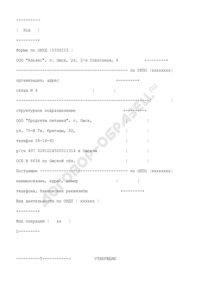 Акт о порче, бое, ломе товарно-материальных ценностей. Унифицированная форма N ТОРГ-15 (пример заполнения). Страница 1