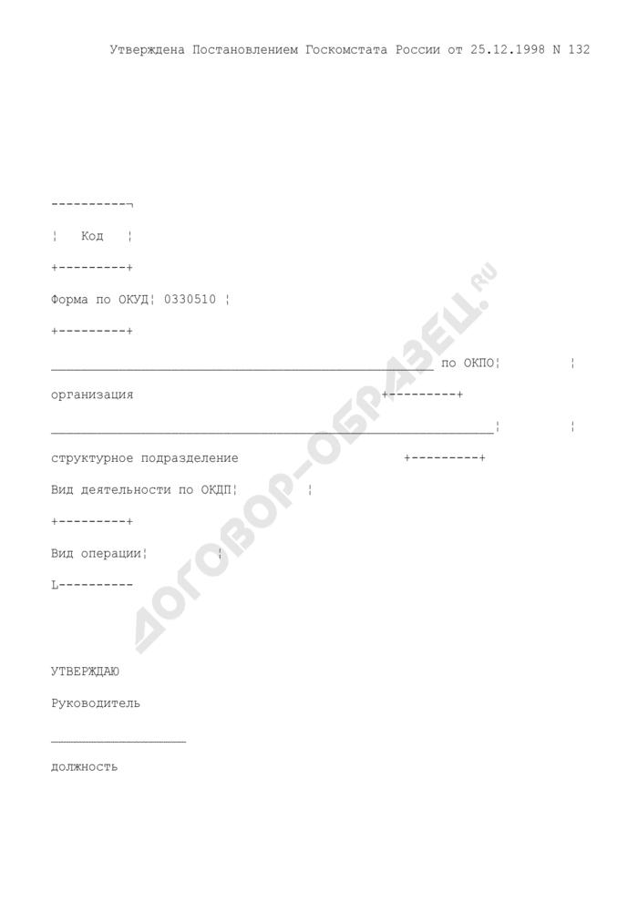 Акт о реализации и отпуске изделий кухни. Унифицированная форма N ОП-10. Страница 1