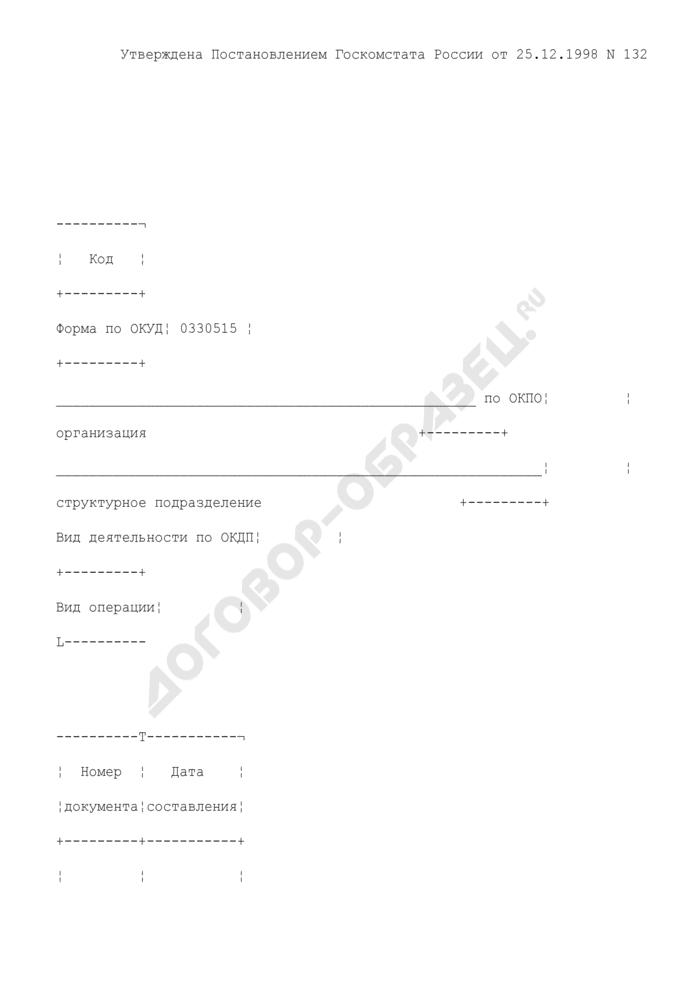 Акт о снятии остатков продуктов, полуфабрикатов и готовых изделий кухни. Унифицированная форма N ОП-15. Страница 1