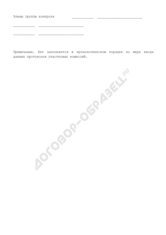 """Акт о соответствии данных, введенных в ГАС """"Выборы"""", первым экземплярам протоколов участковых комиссий. Страница 3"""