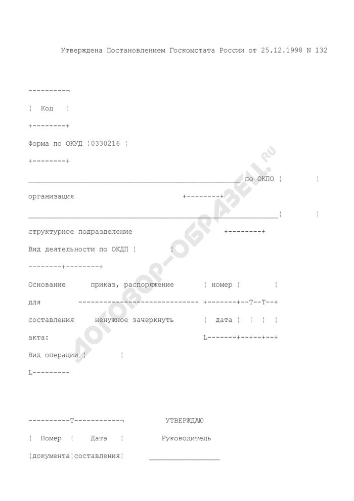 Акт о списании товаров. Унифицированная форма N ТОРГ-16. Страница 1