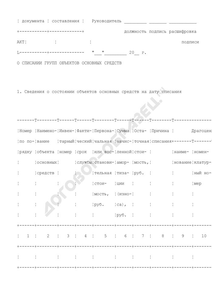 Акт о списании групп объектов основных средств. Унифицированная форма N ОС-4Б. Страница 2