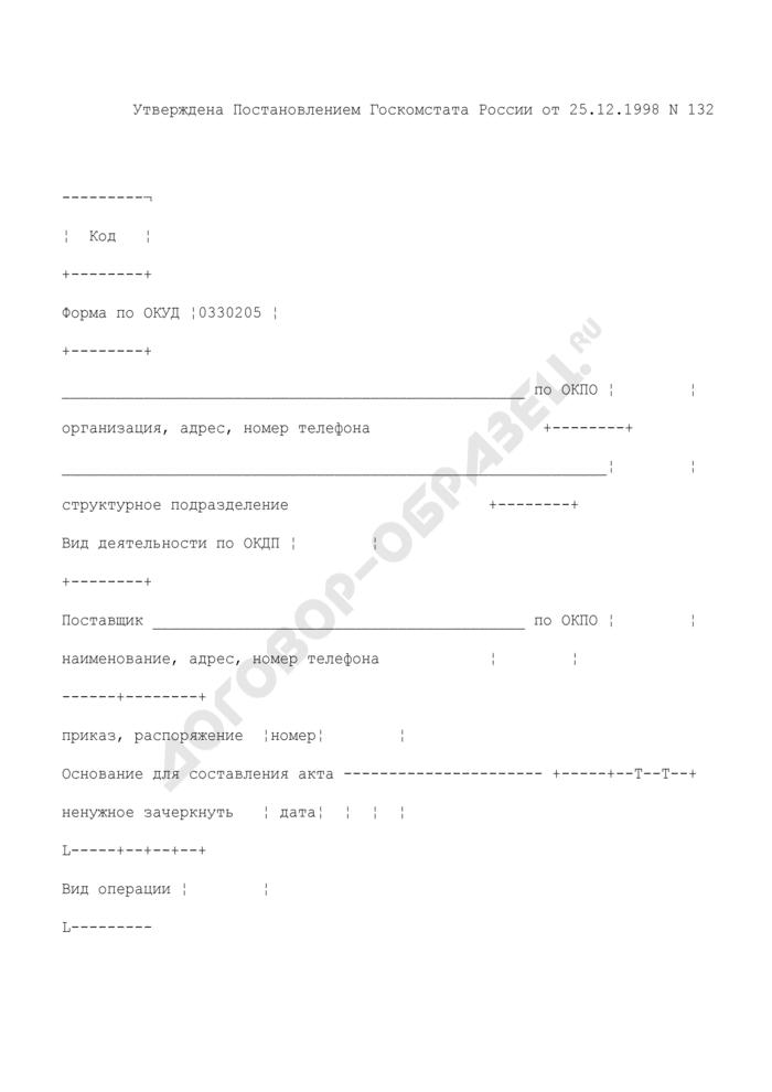 Акт об оприходовании тары, не указанной в счете поставщика. Унифицированная форма N ТОРГ-5. Страница 1