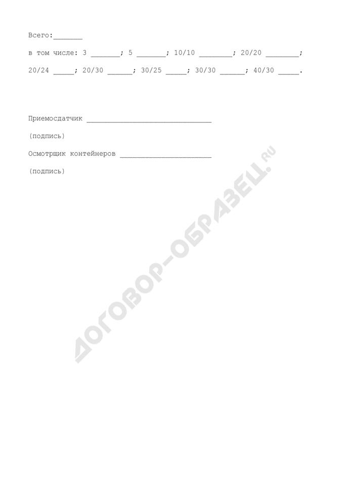 Акт об отстановке (изъятии) контейнеров в (из) резерв(а) МПС России. Форма N ДУ-6К. Страница 3