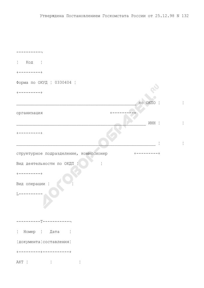 Акт об уценке товара. Унифицированная форма N КОМИС-3. Страница 1