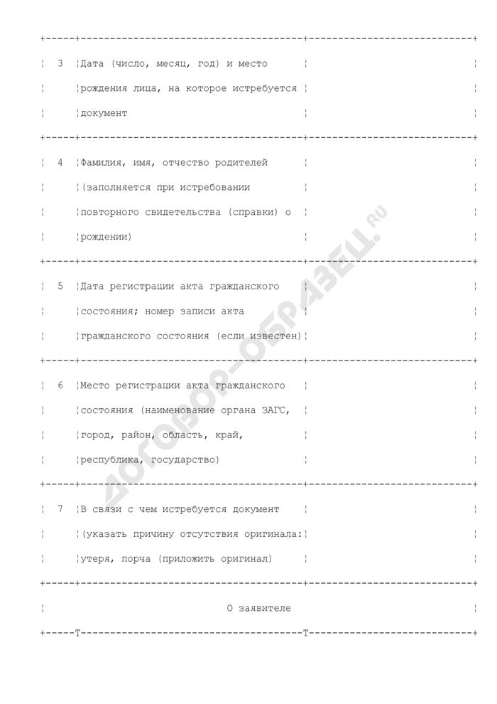 Анкета по истребованию документов о регистрации актов гражданского состояния. Страница 2