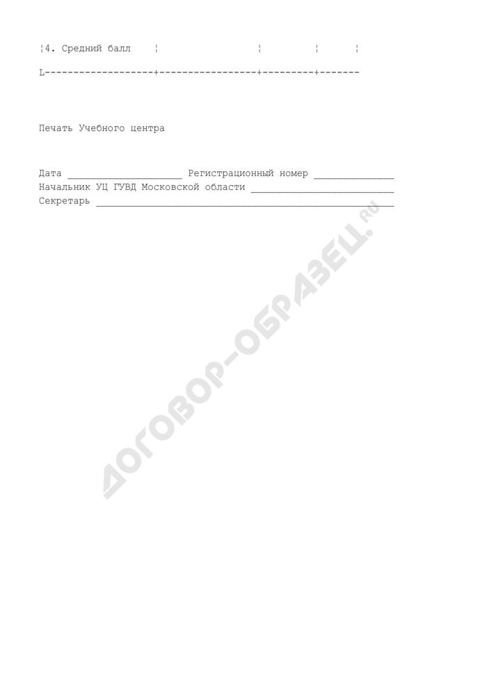 Анкета кандидата на службу в ОВД. Страница 2