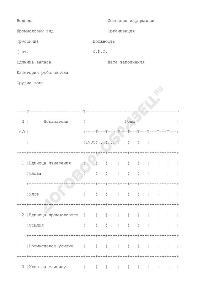 Биопромысловая статистика. Форма N 1. Страница 1