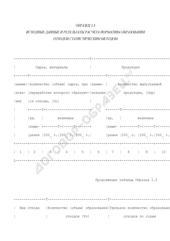 Исходные данные и результаты расчета норматива образования отходов статистическим методом (образец). Страница 1