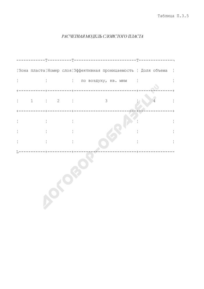 Расчетная модель слоистого пласта. Страница 1