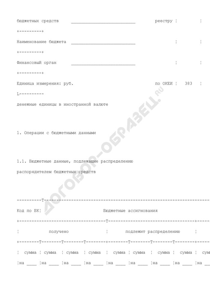 Сводные данные по лицевым счетам подведомственных учреждений главного распорядителя (распорядителя) бюджетных средств (для отражения информации). Страница 2