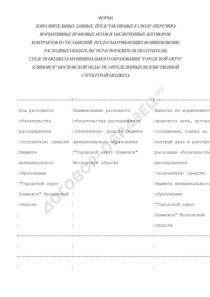 """Форма дополнительных данных, представляемых к своду (перечню) нормативных правовых актов и заключенных договоров, контрактов и соглашений, предусматривающих возникновение расходных обязательств распорядителя (получателя) средств бюджета муниципального образования """"Городской округ Климовск"""" Московской области, определенных ведомственной структурой бюджета. Страница 1"""