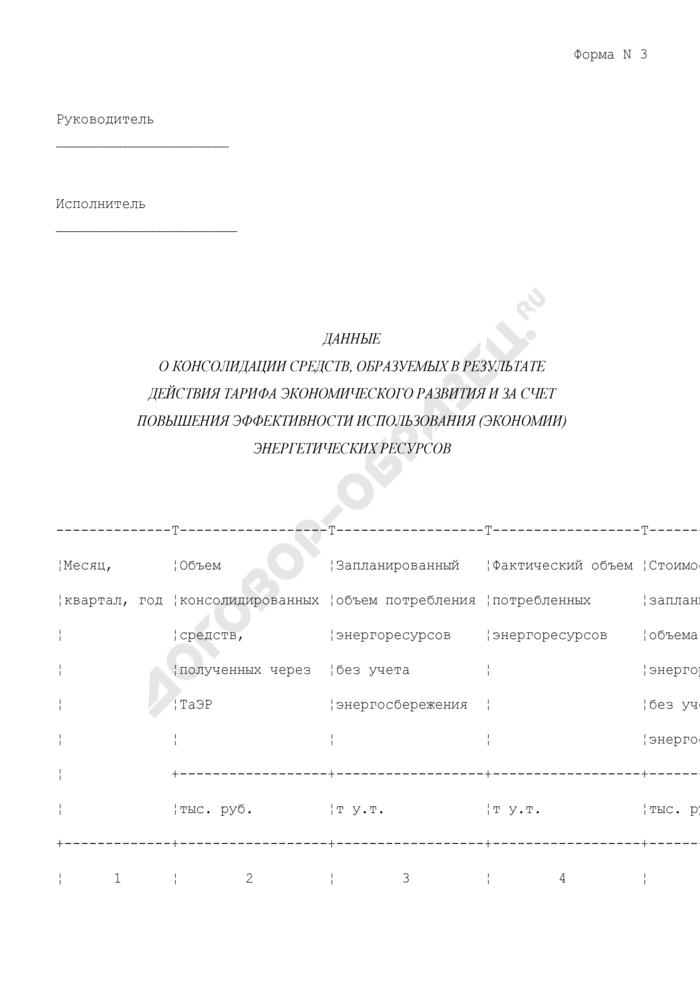 Данные о консолидации средств, образуемых в результате действия тарифа экономического развития и за счет повышения эффективности использования (экономии) энергетических ресурсов в городе Москве. Форма N 3. Страница 1